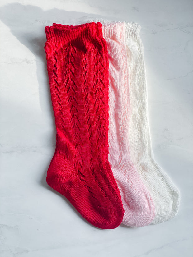 Knitted Knee-High Socks - Red