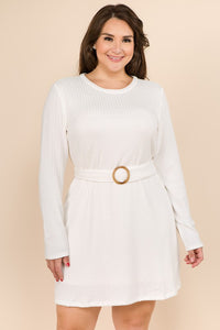 PLUS Ivory Long Sleeve Knit Dress with Belt
