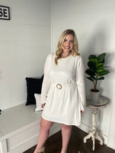 Load image into Gallery viewer, PLUS Ivory Long Sleeve Knit Dress with Belt