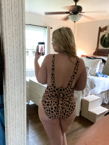 Deep V Leopard One Piece Swimsuit with Tie S-2XL