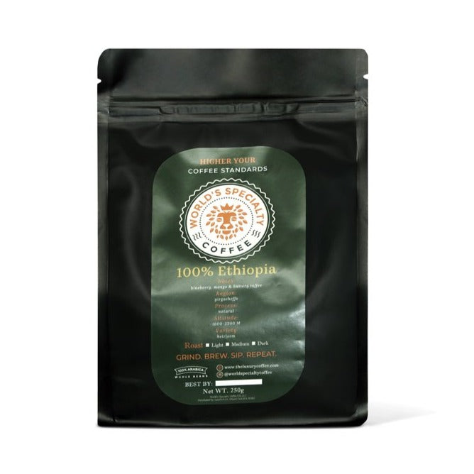 100% Ethiopia Whole Bean or Ground Arabica Coffee Medium Roast 250g
