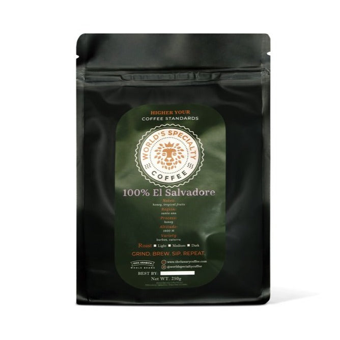 100% El Salvador Whole Bean Arabica Coffee Medium Roast 250g - Worlds Specialty Coffee