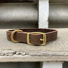 Load image into Gallery viewer, Handmade leather dog collar - Brown Veg-tan leather - For medium to large dogs