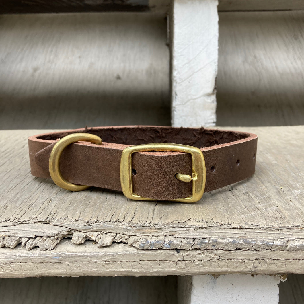 Handmade leather dog collar - Brown Veg-tan leather - For medium to large dogs