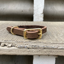 Load image into Gallery viewer, Handmade leather dog collar - Brown Veg-tan leather - For smaller dogs