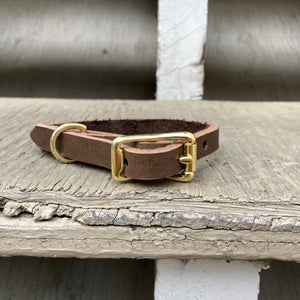 Handmade leather dog collar - Brown Veg-tan leather - For smaller dogs