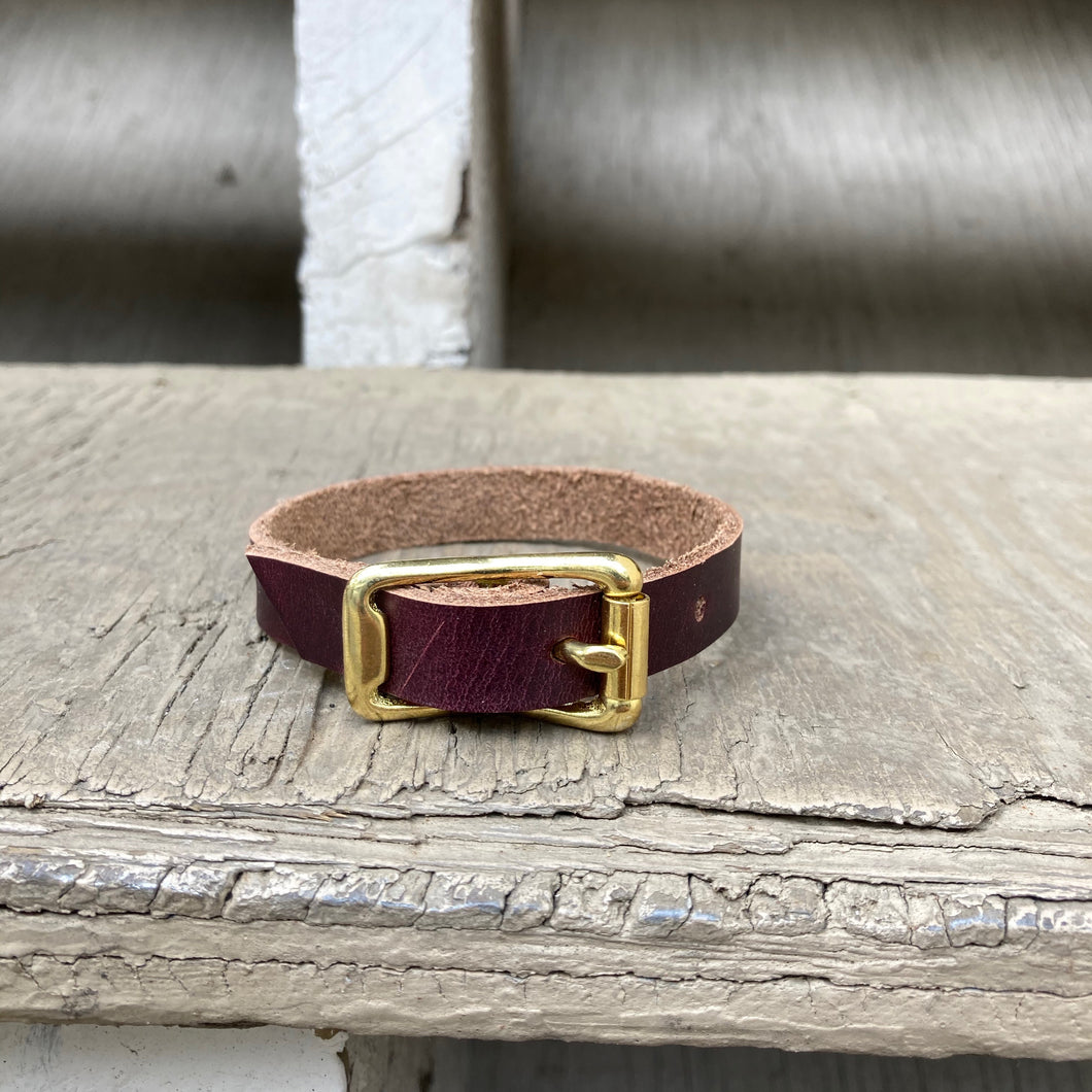 Horween Chromexcel leather small dog or cat collar in burgundy - (Not Veg Tan)