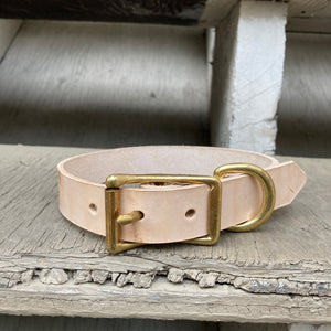 Handmade leather dog collar - Veg-tan leather - For medium to large dogs
