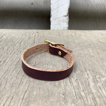 Load image into Gallery viewer, Horween Chromexcel leather small dog or cat collar in burgundy - (Not Veg Tan)