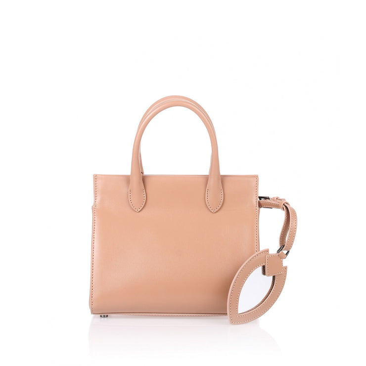 Dark nude leather mini tote