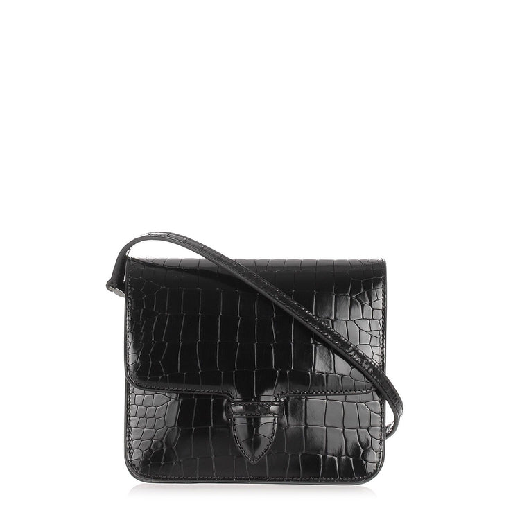 Patent black croc-embossed satchel