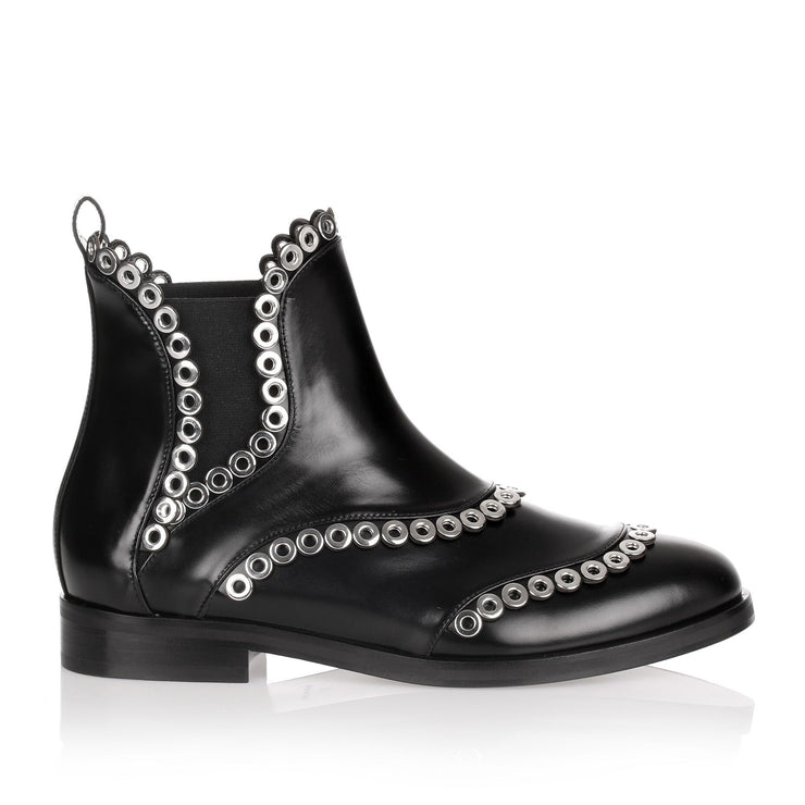 Black leather eyelet Chelsea boot