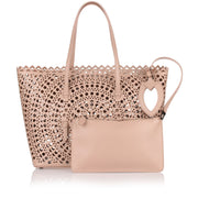 Light beige laser-cut bag