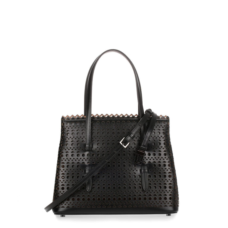 Black Leather Laser-cut Small Tote
