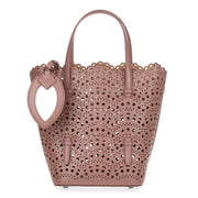 Tan leather laser-cut bag