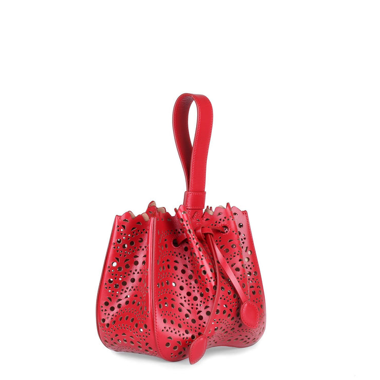 Red leather laser-cut bucket bag