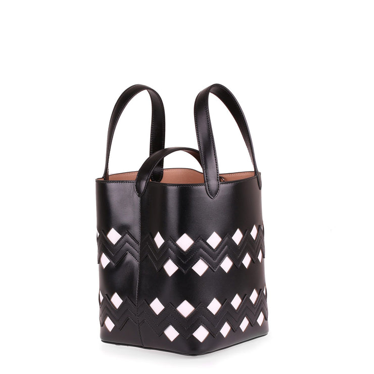 Monochrome black leather tote