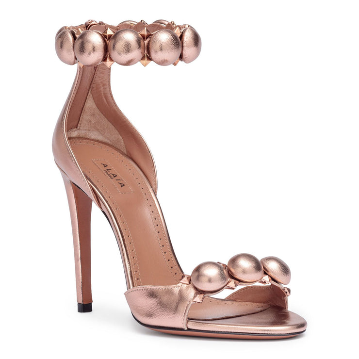 Bronze metallic leather bomb sandals