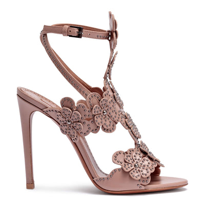 Beige leather floral sandals
