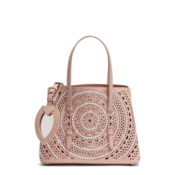 Small beige leather braided tote bag