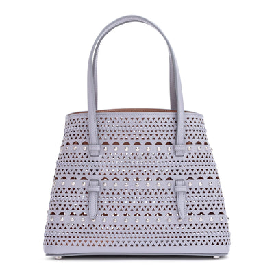 Grey leather small laser-cut bag