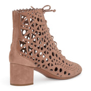 Beige 50 suede cut out boots