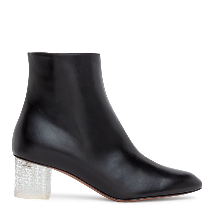 Black 50 leather plexi heel ankle boots
