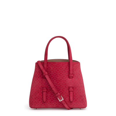 Red suede studded mini tote bag