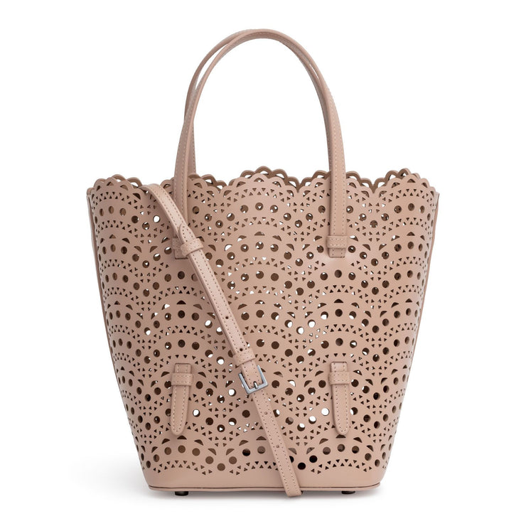 Light beige laser cut tote bag