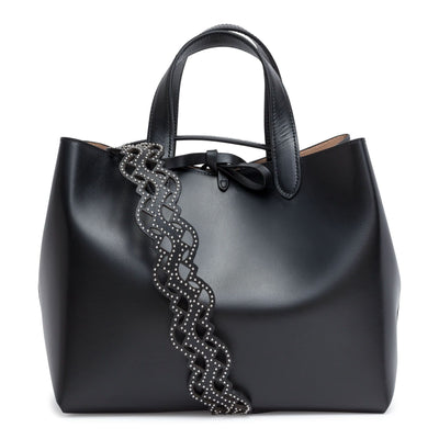Black studded strap tote bag