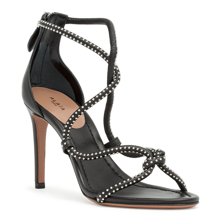 Black soft leather studs sandals