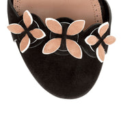 Black suede flower flat sandals