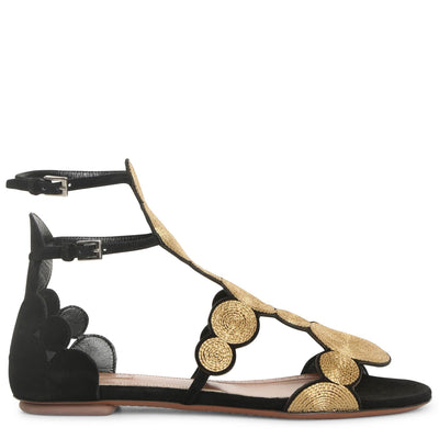 Black suede gold raffia flat sandals