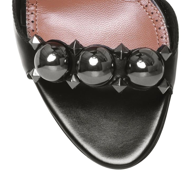 Black metal bombe sandals