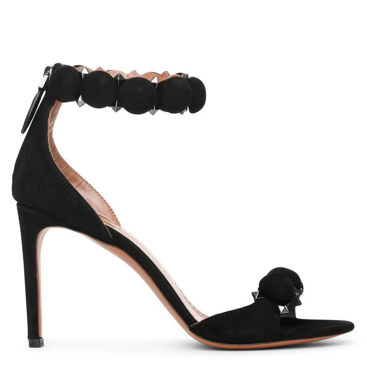 Bombe 90 black suede sandals