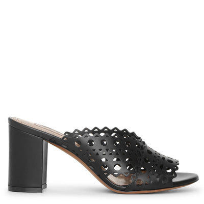 Vienne black leather mules