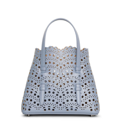 Mina mini 20 blue leather tote bag