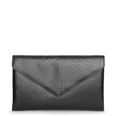 Oum black leather envelope clutch