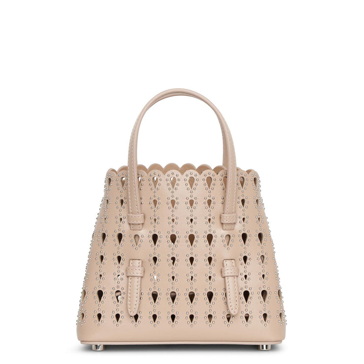 Mina 16 nude studded mini tote bag