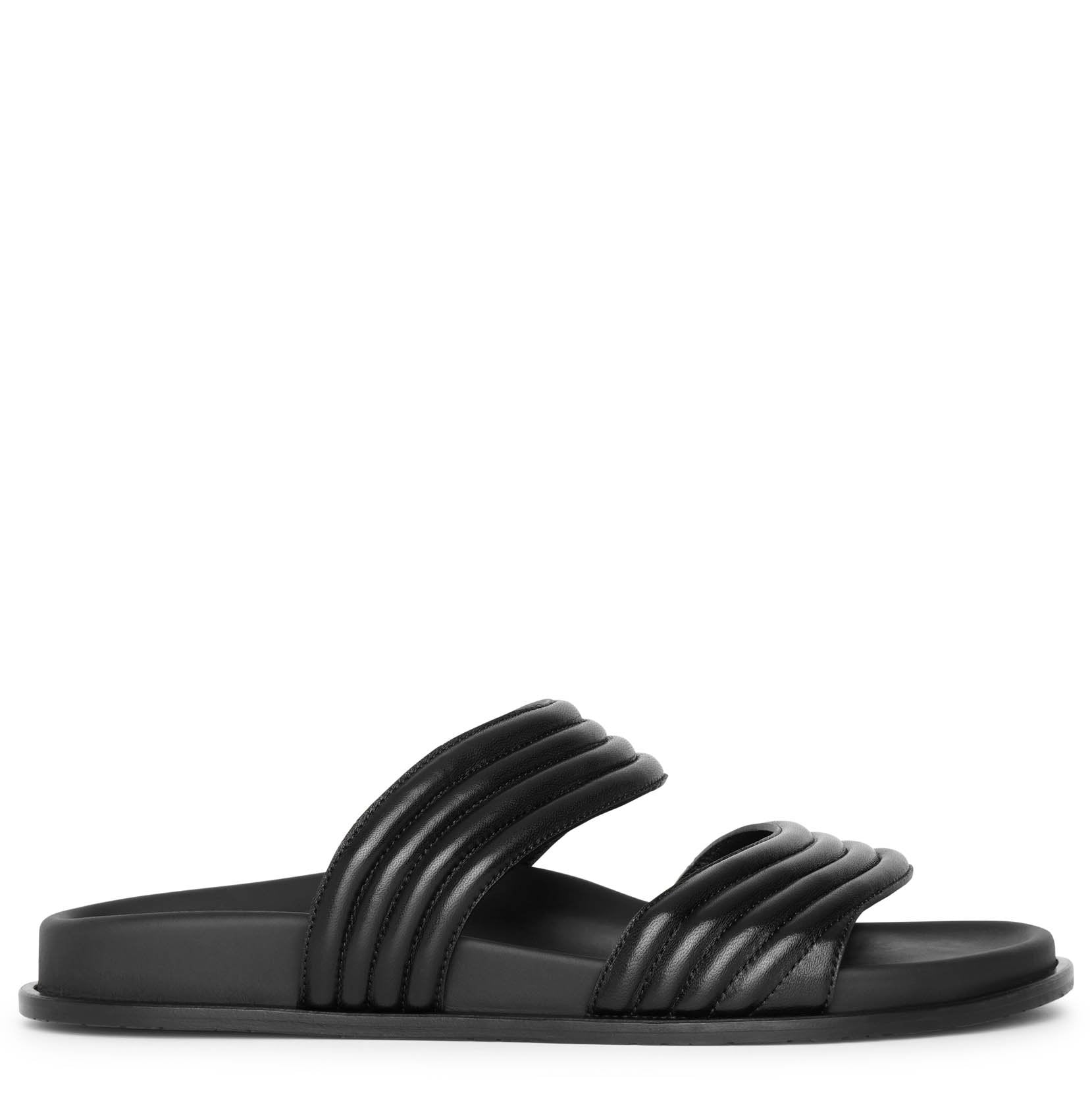 Alaïa Black leather flat sandals