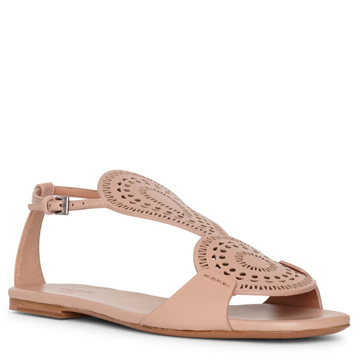 Laser-cut leather flat sandals