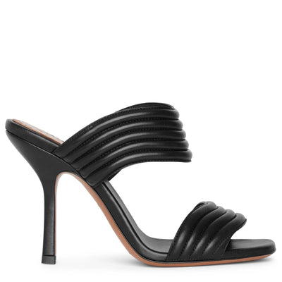 Black leather mule sandals