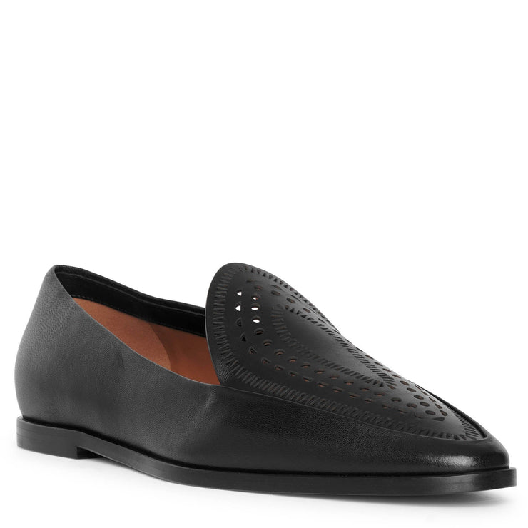 Laser-cut leather loafers