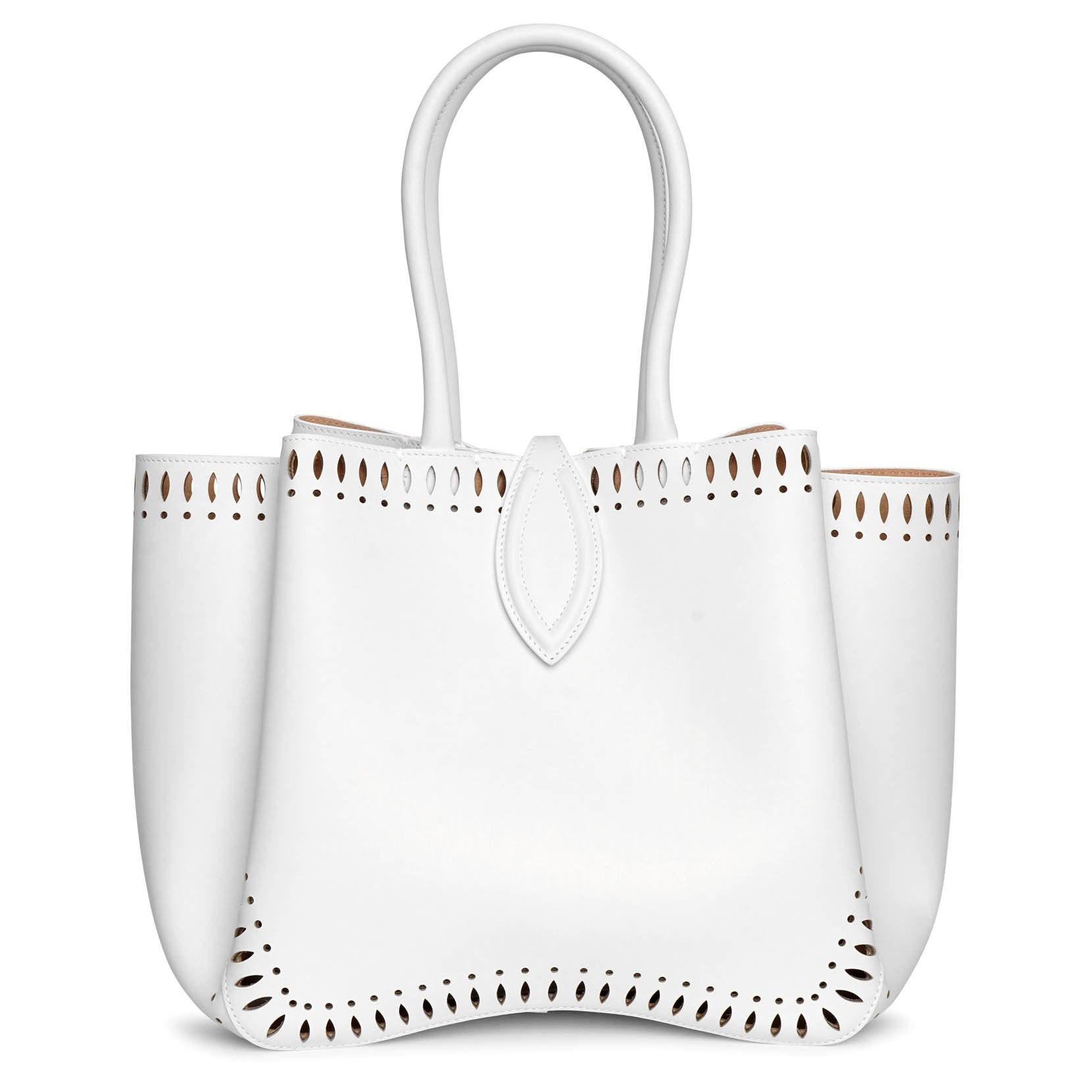 Alaïa Angele 25 white leather tote bag