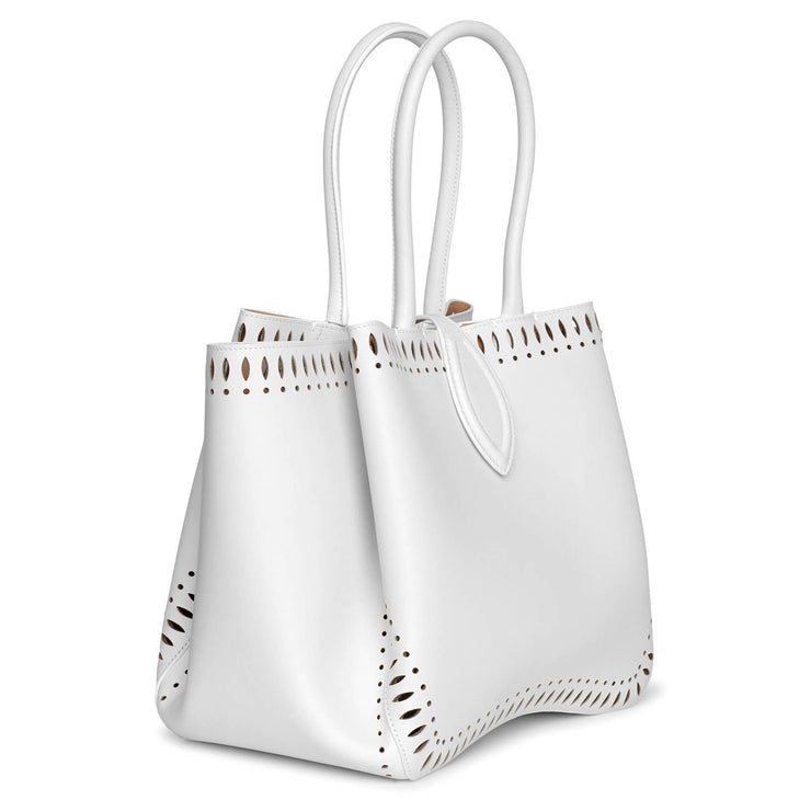 Angele 25 white leather tote bag