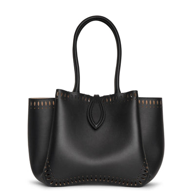 Angele 20 black leather tote bag