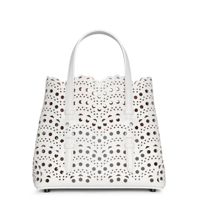 Mina 20 white leather tote bag