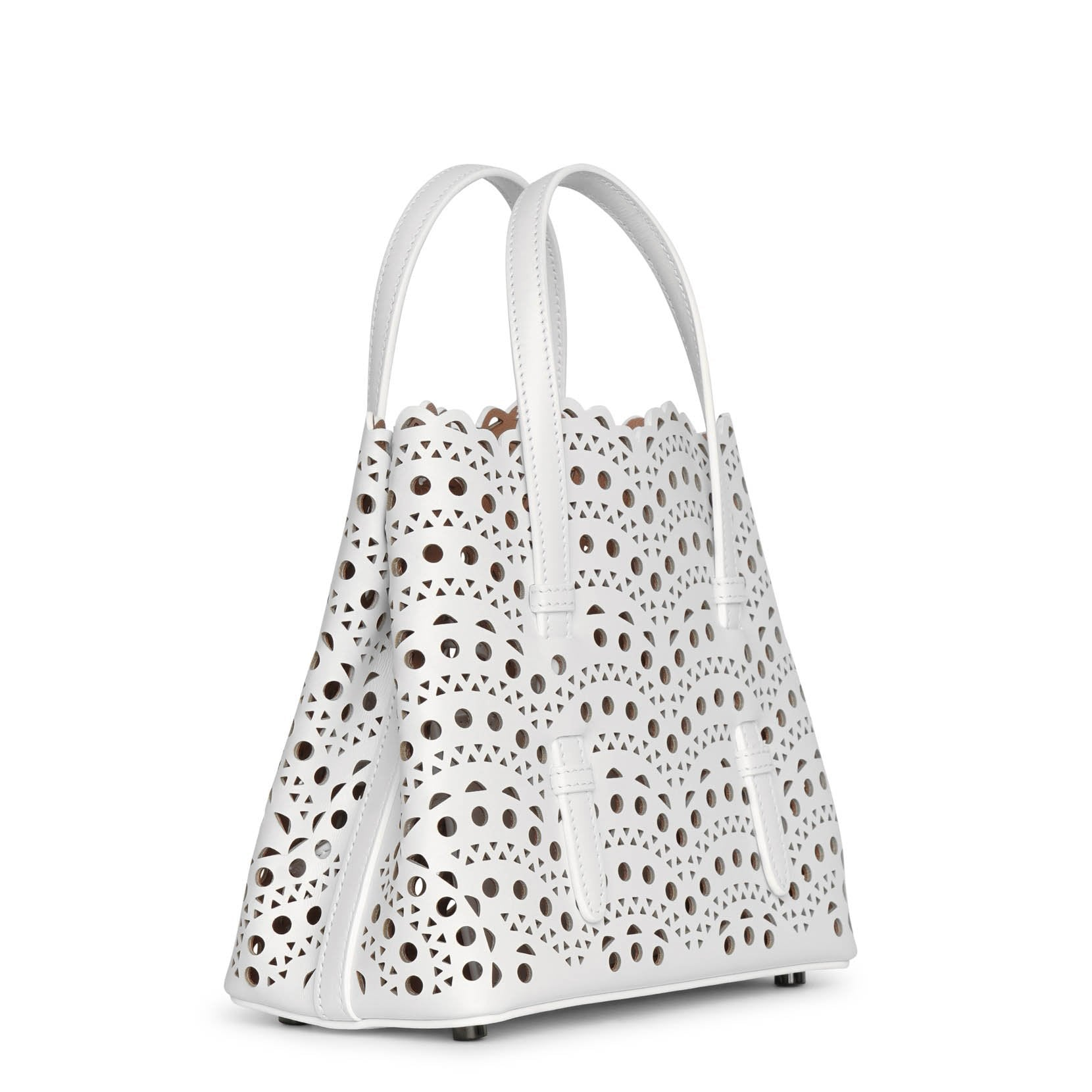 ALAÏA Leathers Mina 20 white leather tote bag