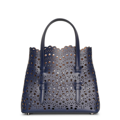 Mina 20 dark blue leather tote bag