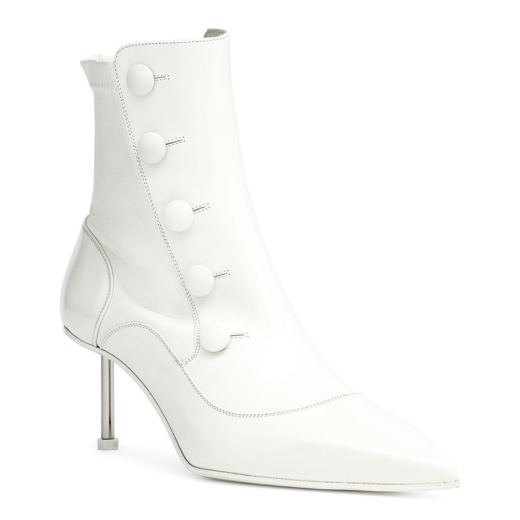 Victorian white leather high heel boot